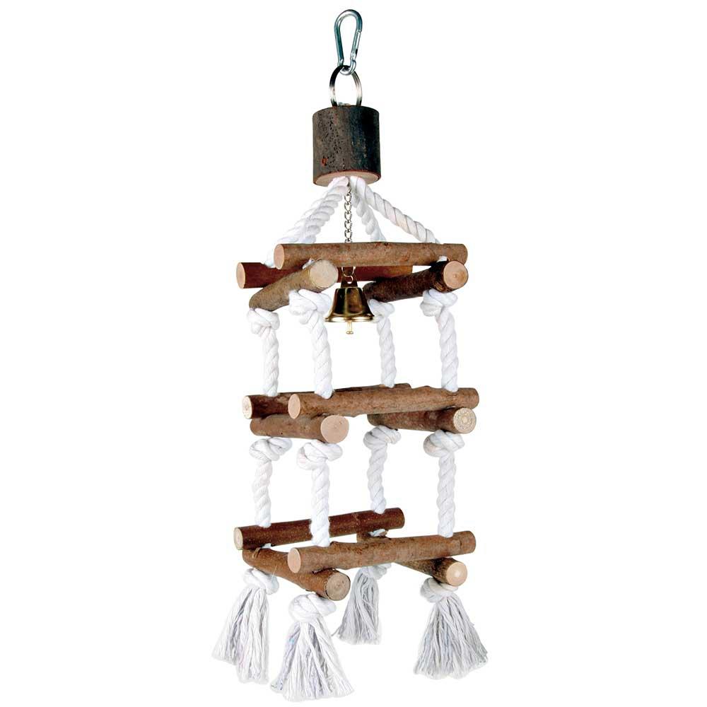 Tour suspendue en bois et corde Qualitybird, jouet oiseaux # Corde De Bois Dimension