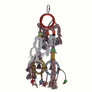 Jouet corde, billes et cloche