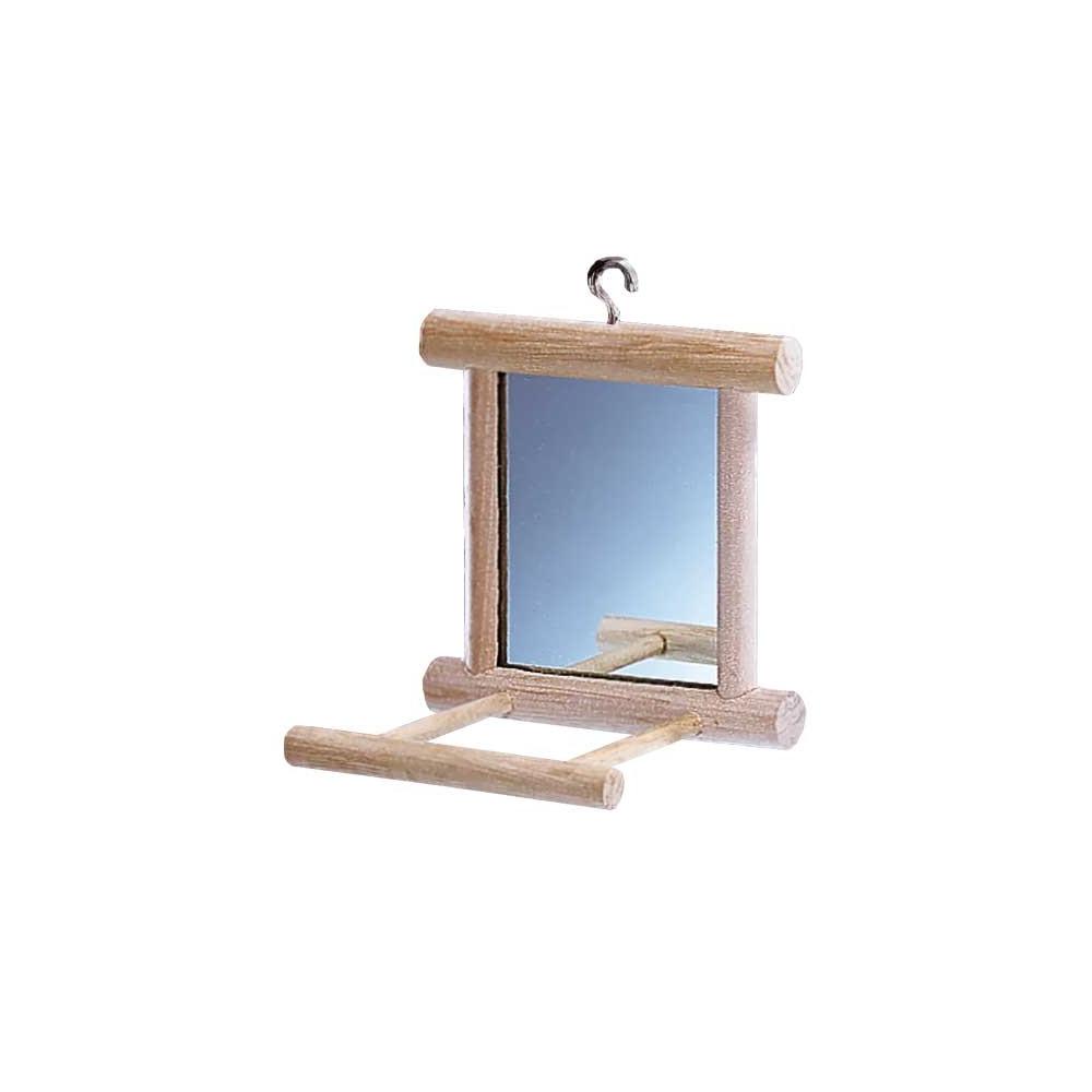 Perchoir en bois avec miroir pour perruche for Imprimer en miroir
