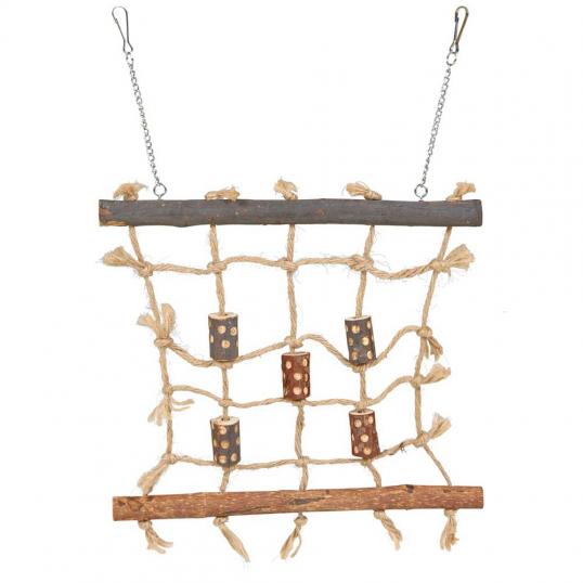 Mur d'escalade en bois et corde