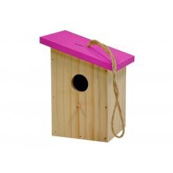 Nichoir toit coloré rose oiseaux du jardin