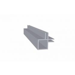 Tube carré aluminium double rainure 3 mm intérieur