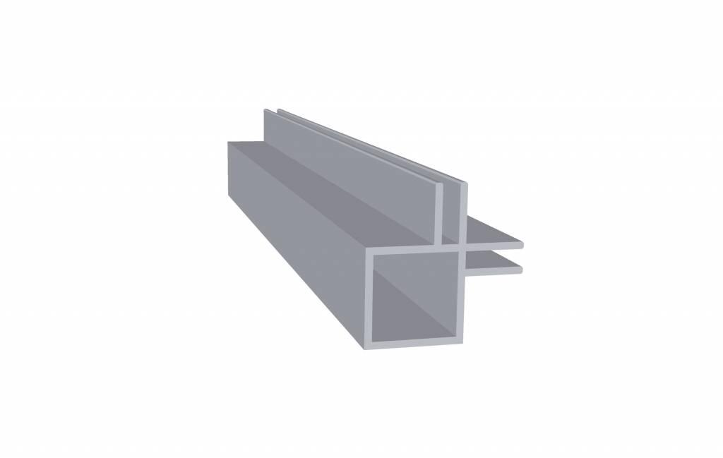 Tube carré aluminium 2 mètres double rainures 3 mm intérieures