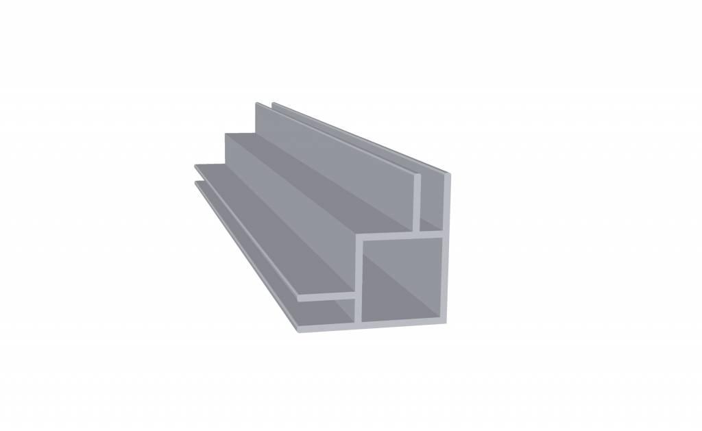 Tube carré aluminium 2 mètres double rainures 3 mm extérieures