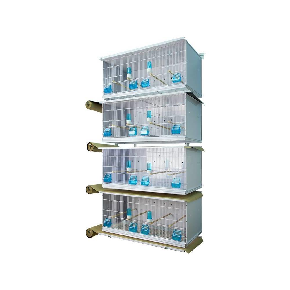 Batterie de 4 cages New Canariz rouleaux de papier