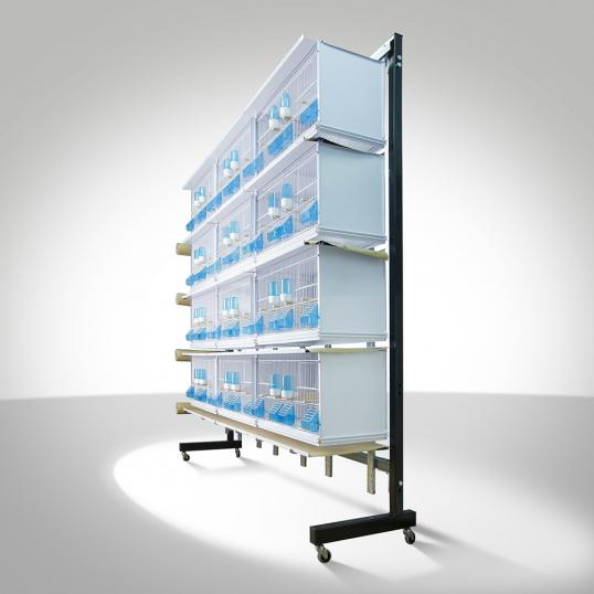 Batterie 12 cages sur roulettes New Canariz Système papier