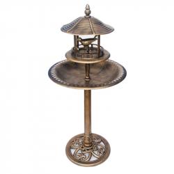 Mangeoire fontaine abri sur pied avec bassin bronze