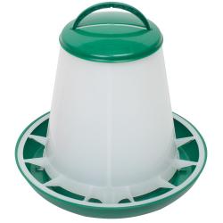 Mangeoire Plastique vert/blanc volailles avec séparateur anti-gaspillage 6 kg