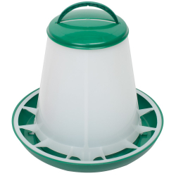 Mangeoire à trémie plastique avec couvercle 3kg, verte / blanc