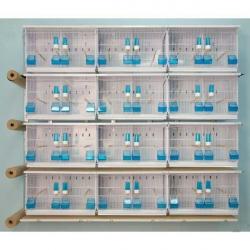 Batterie d'élevage 12 cages 63x40x40 - Système papier