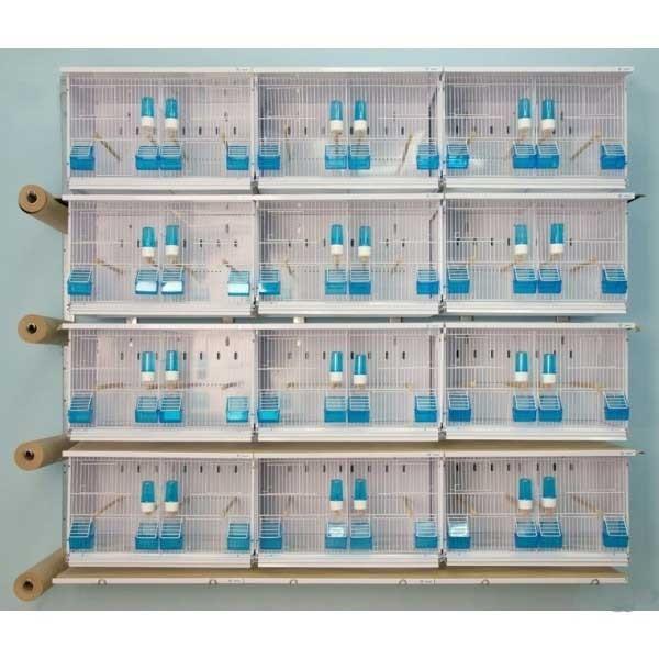 Batterie d'élevage 12 cages 63x40x40 - Avec tiroirs